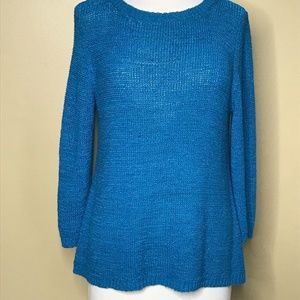 Style & Co Long Sleeve Blue Knit Sweater (L)